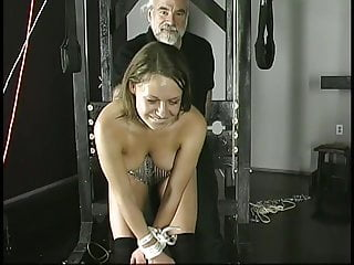 Ankle struggle brother breast skirt bind Old fat guy binds and suspends cute brunette with small tits in dungeon