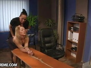 Spanked office cleaner Office slut punished by her lady boss