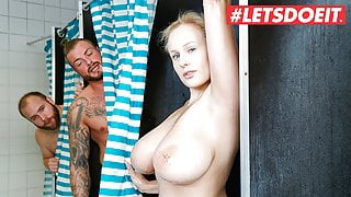 HORNY HOSTEL – Shower Threeway With Naughty Busty Angel Wicky