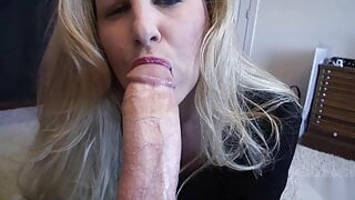 Housewife lubes up and sucks big cock