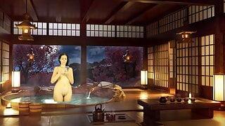 Bathroom Piss Punishment. Naked reading. Japanese bath.
