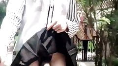 Crossdresser outside showing clitty