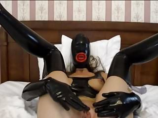 Latex slave rubber bondage Hooded rubber latex slave girl dildo play