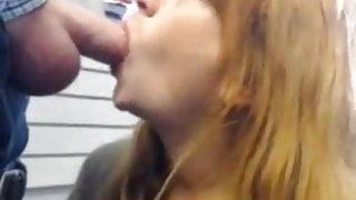 Coworker sucks cock at work