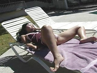 Horny solo anal dildoing wives video Horny asian has solo dildo fuck by the pool