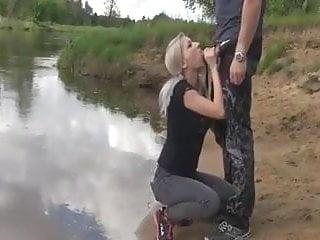 Braina banks sucking cock Blonde cum slut sucks cock in the river bank