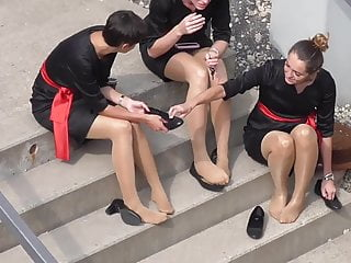 Pantyhose feet candid - Candid 4 hostesses feet in nylons pantyhose