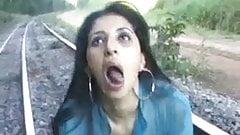 Latina rough blowjob on railway