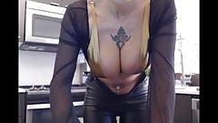 big nipples black chick in kitchen