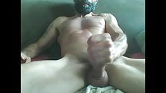bearded mature muscle hunk shooting a huge load