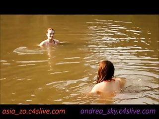 Lesbian water Asia zo and andrea sky- public water strip game