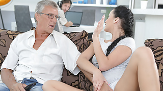 STEP DADDY4K. Cumshot in mouth culminates nice sex of daddy and..