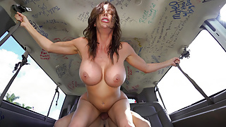 Gorgeous MILF Doing Two Guys in a Row in a Van