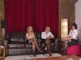Humiliation spank - Three dommes in stockings humiliate guy