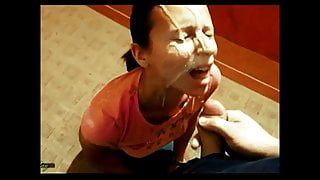 Massive cum in mouth and face ..... swallow