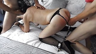Hooded 72 yr old granny with tits tied gets spit roasted