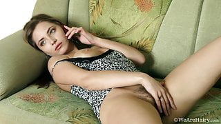 Beautiful Tami in a leopard nightie playing with her hairy bush