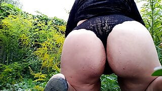 Sexy PAWG Pee Desperation Public Pissing (Back view)