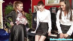 Oiled up classy babes toy assplay with busty piano teacher