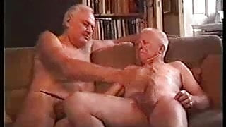 Two sexy old men fucking another