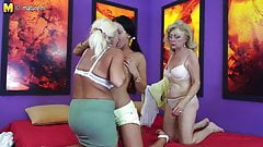 Two grannies and teen girl lesbians making a porn movie