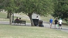 Teenager exhibitionist filmed at the distance in park