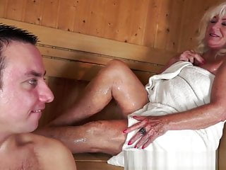 Old lady in bikini Old lady in the sauna