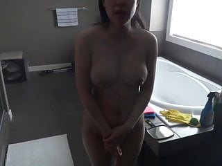 Chinese voyeur Post pregnancy engorged breast feeding wife taking a shower