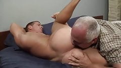 Rimming and sucking a straight muscle guy