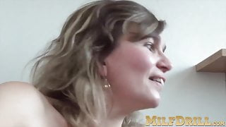 Mature woman with big boobs is horny and wants to masturbate
