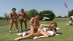 woman fucking with four men on a golf course