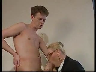 Blonde blowjob boobs Blonde mature with big boobs glasses fucked in the office