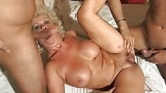 Distraught Granny Gets Comfort From 2 Young Cocks