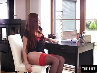 Huge didlos up ass - Redhead in stockings rides a huge black didlo