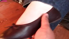 Nadia barefoot rub, off with ballet flats and socks
