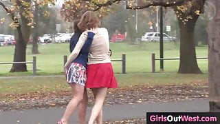 Busty lesbian babe licked out by cute blondie