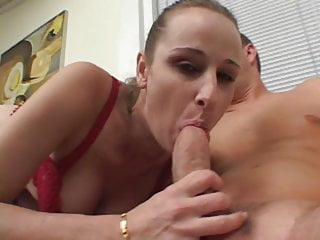 Bosomy blonde blowjobs Bosomy blond coed in red bra and panties savaged on a couch