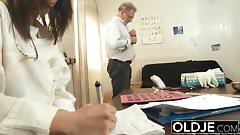 Old and Young Nurse Turns Checkup into Sex and Fucks grandpa