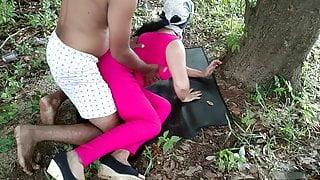 Fucking friend hot wife in wood outdoor risky public sex
