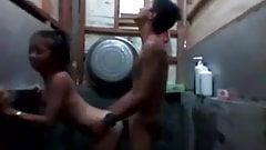 Indonesian teen couple in bathroom