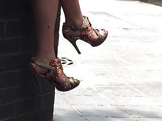 High street lingerie Candid sexy legs in heels in street
