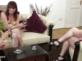 Young girl likes mature lesbian - Two mature lesbian mothers share a young girl
