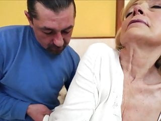 Cum on bald cock Old bald granny fucked and he cums on her gaping cunt