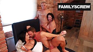 Caring Family Makes Grandpa Feel His Cock Again!