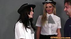 Brit femdom cops jerking and cocksucking sub