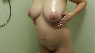 Pregnant Big Tits Wife Showing Off In The Shower