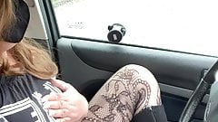 Quick horny carpark wank fishnet tights pantyhose cumshot
