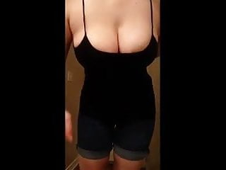 Pull my tits Pulling down my tank top
