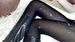 His demise on my legs in black pantyhose and boots