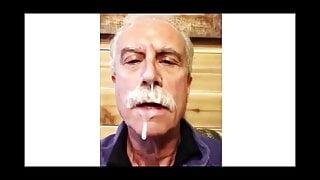 Moustache Daddy Enjoys His Cum Reward